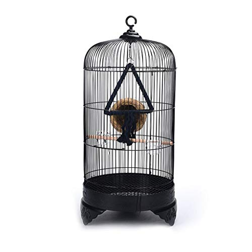 Voliera per pappagalli Rotonda piccola uccello e pappagallo gabbia per uccelli Pet Villa Villa viene fornito con Coppa trasparente e altalena corda di cotone Altezza 33 centimetri Diametro X70cm (nero