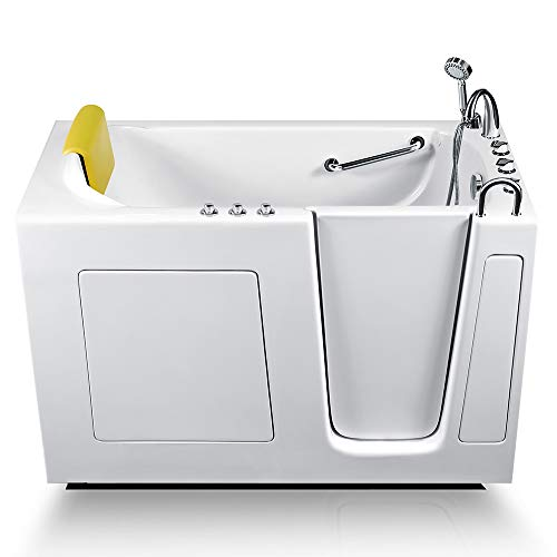 Energy Tubs Walk-in Bathtub 30 in. x 60 in. Luxury Whirlpool Massage + Faucet Set (White) (Right Drain)