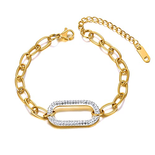 YFZCLYZAXET Pulseras Brazalete Joyería Mujer Pulseras con Dijes Geométricos De Cristal De Moda para Mujer Joyería De Cadena De Acero Inoxidable-Oro-Colore