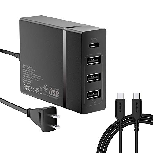 USB C Charger, Nekteck 4-Port 72W USB Wall Charger with Type-C 60W Power Delivery PD Charger Station Compatible with iPhone 11 Pro Max, 2017 MacBook Pro, Pixel XL Galaxy S9 Plus iPad Pro 2018 (Black)