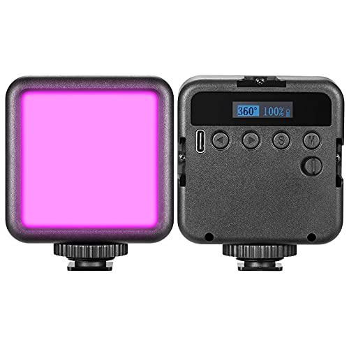 LED Luz de Video RGB con Efecto, Pafieo R60 Luz LED Cámara Fotografía 2500K-9000K CRI95, Mini Luce USB con 2000mAh Batería para Cámara Smartphone Gimbal Youtube Vlog Fotografía Macro