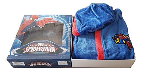 Spiderman - Albornoz con capucha en caja, material de rizo de algodón, tallas 2/3-4/5-6/7 años (2/3 años)