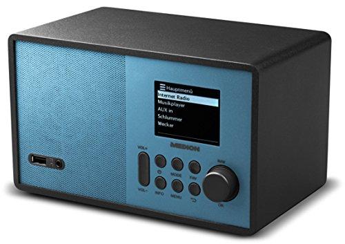 MEDION E85059 WLAN-Internetradio, 2,4 Zoll TFT Farb-Bildschirm, 40 Speicherplätze, Holzgehäuse, USB, AUX, blau/schwarz