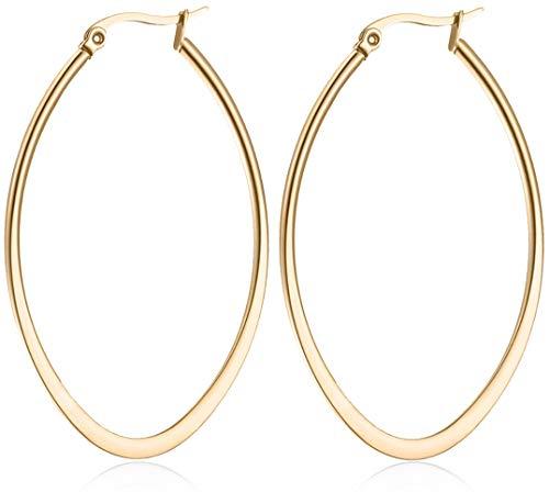 day.berlin Damen Creolen Drop in Gold (2 Stück) Ohrringe oval Edelstahl 5,4cm x 3,8cm / 2mm stark vergoldet