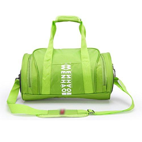 Sacca da ginnastica, iTECHOR Grande capacità delle donne nylon impermeabile Cilindro Tote Cross body Bag Zaini Casual Palestra Sport Bag - Verde