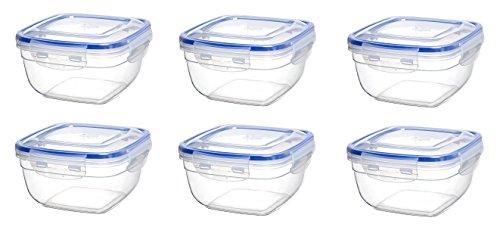 Original Click´n Store Frischhaltedosen-Set 6 mal 1500 ml Inhalt #802308 quadratisch / 100% luft- und wasserdicht/spülmaschinengeeignet
