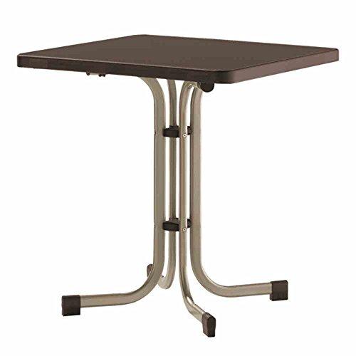 Sieger 231/C-M Boulevard-Klapptisch mit mecalit-Pro-Platte 70 x 70 cm, Stahlrohrgestell champagner, Tischplatte Schieferdekor mocca