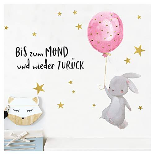Little Deco Kinder Wandtattoo Hase & Zitat Bis zum Mond I 90 x 63 cm (BxH) I Luftballon Kinderbilder Deko Babyzimmer Mädchen Aufkleber...
