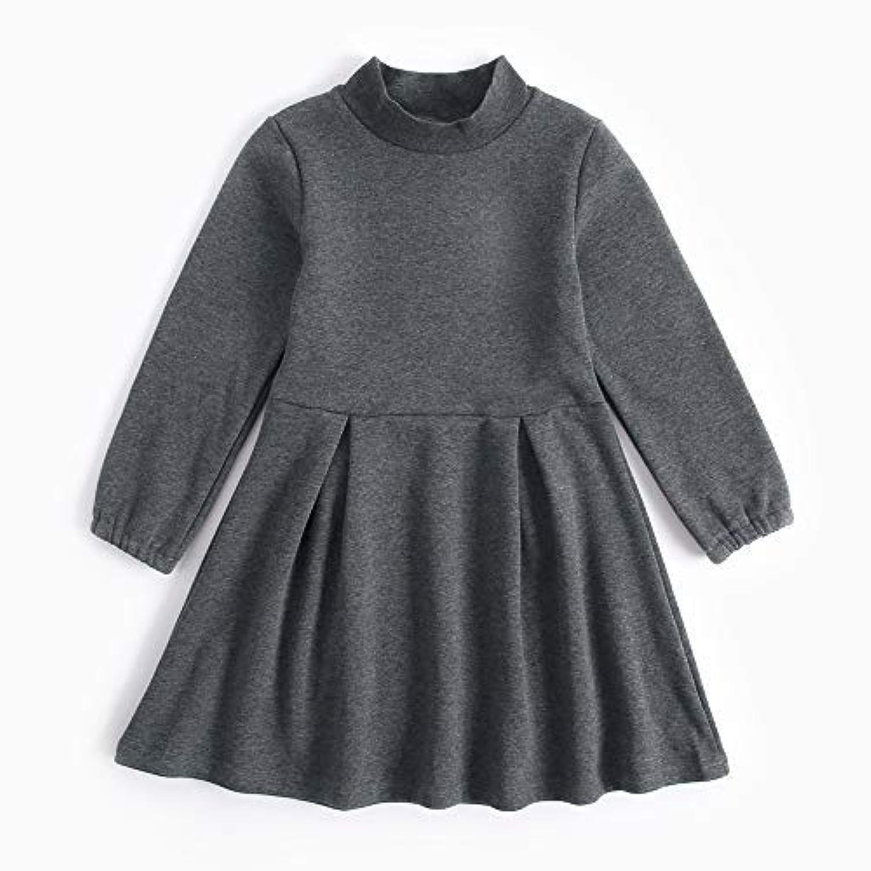 junliuTT ソリッドカラー 厚い 女の子 ドレス 女の子 コットン 長袖 冬 ドレス ファッション カジュアル ドレス11-12歳/ 150cm|KDW7127-YE