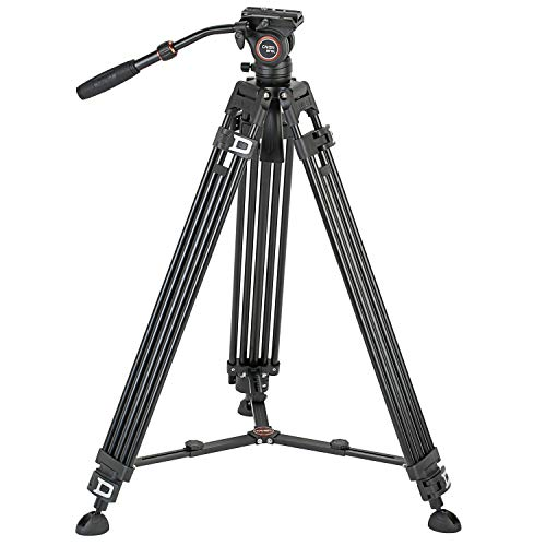Cayer BF10L Video Tripod Kit, 72 inch Heavy Duty Aluminum Twin Tube Tripod Leg with 360 Degree H4 Video Fluid Head, Adjustable Mid-Level Spreader for DSLR Camcorder and Cameras
