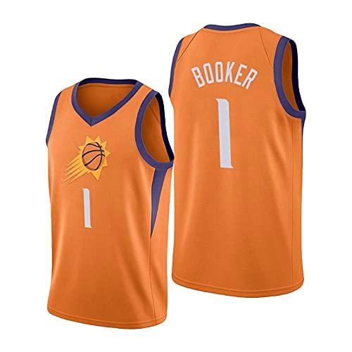 YDHZ Dévin Bookér Maglie da Basket per Uomo, Phoénix Sùns Dévin Bookér # 1 Ventilazione e Abbigliamento Sportivo Ricamato Traspirante (S-XXL) Orange-S