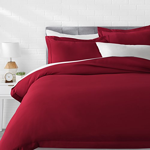 AmazonBasics Light-Weight Microfiber Duvet Cover Set with Snap Buttons - Full/Queen, Burgundy