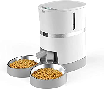 WellToBe Distributeur de Croquette Automatique pour Chat, Distributeur d'Aliment pour Chat&Chiot avec Séparateur, Jusqu'à 6 Repas avec Contrôle de Portion, Enregistrement Vocal-Batteries et Adaptateur