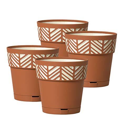 Kreher 4 Stück Pflanztöpfe ORFEO Hochwertiges 3D-Design in leicht Matter Ausführung mit integrierten Wasserspeicher (M, Terrakotta)