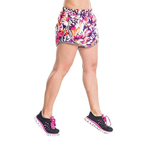 Nessi Short pour Femme DSL Short Pantalon de Course Fitness Pantalon Respirant Violet Flowers L 23 Violet Flowers