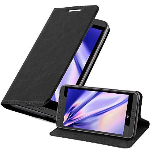 Cadorabo Hülle für HTC Desire 820 - Hülle in Nacht SCHWARZ – Handyhülle mit Magnetverschluss, Standfunktion und Kartenfach - Case Cover Schutzhülle Etui Tasche Book Klapp Style