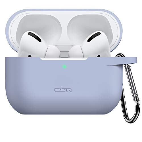 ESR Upgraded Protective Cover Compatible with AirPods Pro Case, Silicone Case with Carabiner for 2019 AirPods Pro Charging Case [Front LED Visible] [Shock-Absorbing] Soft Slim Case – Lavender