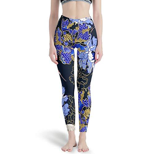 LPLoveYogaShop - Leggings japoneses para mujer, diseño de flores, pintura, diseño clásico, para yoga, pilates, gimnasio blanco XL