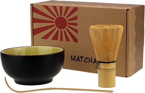 Urban Lifestyle Matcha Schale, Besen, Löffel Set Taro (Limettengelb)