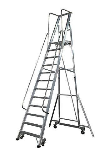 KTL Escalera Plegable con Plataforma y guardacuerpos 12 peldaños móvil Profesional Serie 2XL-S