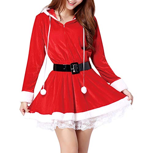 Cnebo Women Velvet Santa Hooded Dress, Christmas Red Sexy Mrs. Claus Santa Lace Tirm Long Sleeve Xmas Costume with Belt