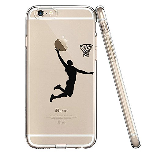 LEECOCO iPhone 5S Case, iPhone SE Case iPhone 5 Case Creative Ultra-thin Transparent TPU Soft Back Cover Case for iPhone 5 / 5S / SE (Boys Basketball,Black)