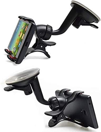 ShopXJ 車載ホルダー スマホ 携帯 スタンド 付き 360度 回転 吸盤 クリップ式 (ブラック)
