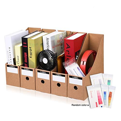 CAVEEN Zeitschriftensammler aus Karton 5 Teilig für Zeitschriften Datei Ordner Stehsammler Zeitschriftenständer Aktenhalter Schreibwaren Bürobedarf Zeitschriftenhalter Speicherorganisator (Beige)