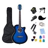 KEPOHK 40 pulgadas Guitarra eléctrica Guitarra de cuerpo fino Acústica Guitarra de 6 cuerdas Profesión Guitarra popular Pop para principiantes Set Regalo 40 pulgadas Azul