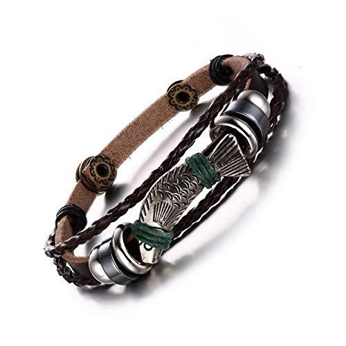 WXYBF Heren armband 22Cm Lengte Bedel Lederen Touw Armbanden Voor Mannen Sieraden Bangles Vispatroon