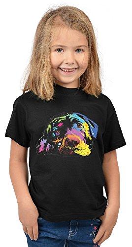 Labrador Kinder Tshirt - Hunde-Motiv Kindershirt - Hundemotiv : Lying Lab - Kunstmotiv buntes Hunde-Shirt Kind Gr: S = 122-128