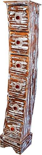 Guru-Shop Ladekast Spiraal in 3 Maten, Hout, Maat: 6 Laden (99 x 18 x 17 cm (HxBxD)), Kleine Kasten