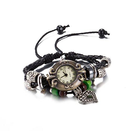 iWatch Hombre Mujer Reloj De Pulsera Retro Plata Corazón Colgante ajustable tamaño PIEL genuina pulsera brazalete analógico de cuarzo reloj negro