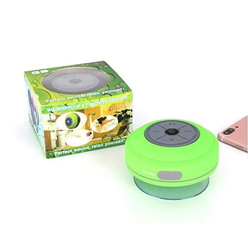 Ruitx Altavoz portátil Bluetooth Ducha LED con Radio FM, a Prueba de Agua, Altavoz Manos Libres, Recargable Utilizando Micro USB, Altavoz del Arco Iris para Golf, Playa, Ducha y Hogar,Verde