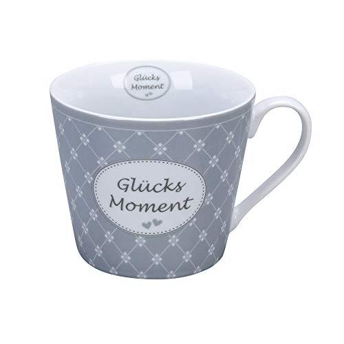 Krasilnikoff - Happy Cup - Becher, Tasse mit Henkel - Glücksmoment - Porzellan - H9 x Ø10 cm - Volumen: 400 ml