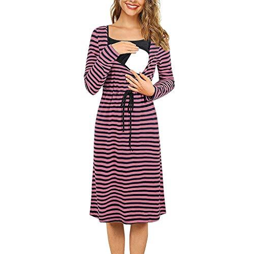 baskuwish Women's Labor/Delivery/Nursing Robe Maternity Sleepwear,Hospital Nightgown Pregnancy Sleepshirts for Breastfeeding Pink