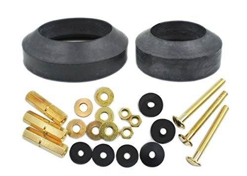 Universal Toilet Tank To Bowl Repair Kit Including 2 Sponge Gaskets and 3 Set Brass Hardware Kits Fits 2 Inches 3 Inches Flush Valve Opening