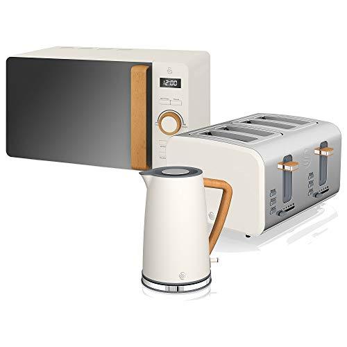 Swan Nordic Set Frühstück Wasserkocher 1,7 l 2200 W Breitschlitz-Toaster 4 Scheiben Mikrowelle 20 l Digital Design Modern Holzoptik Weiß Baumwolle