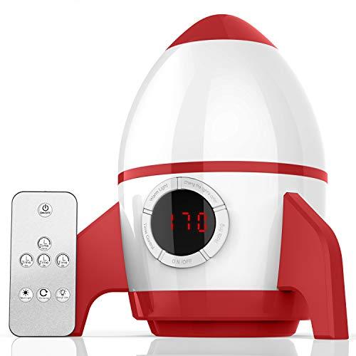 Amouhom Baby Projektor mit Fernbedienung, Raketenform LED Nachtlicht mit Wiederaufladbare Batterie 360°Rotation und Timing Geschenke für Kinders Schlafzimmer/Festival(Rot und Weiß)
