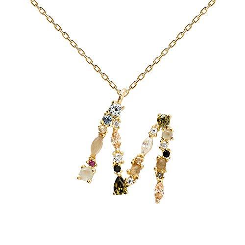 PDPAOLA - Collar Letra M - Plata de Ley 925 Bañada en Oro d