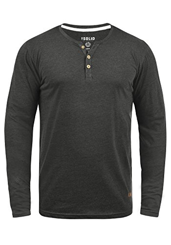 !Solid Volko Herren Longsleeve Langarmshirt Shirt Mit Grandad-Ausschnitt, Größe:M, Farbe:Dark Grey Melange (8288)
