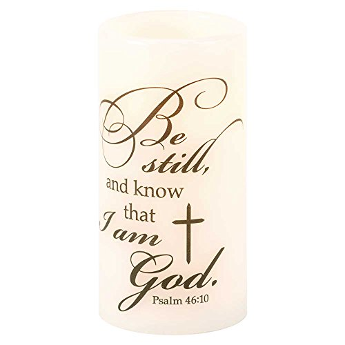 Be Still and Know LED Light-up Psalm 46:10 White 3 x 3 Wax Mold Wickless Pillar Candle Decoration