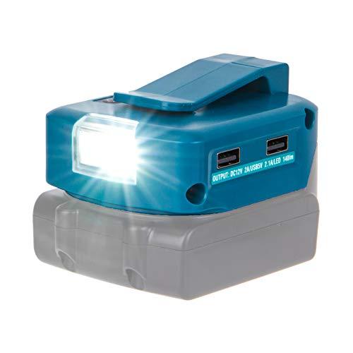 Adaptador para Makita BL1860 Adaptador con 2 puertos USB y foco LED más reciente, adaptador portátil de alta calidad a 14,4 V/18 V con salida de iones de litio de 12 V BL1430 BL1830