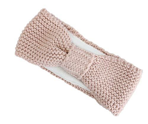 irisaa Damen Stirnband Headband Outdoor Joggen im Frühling Ohrenschutz Grobstrick mit Fleece Innenfutter, stirnband farbe:Pink