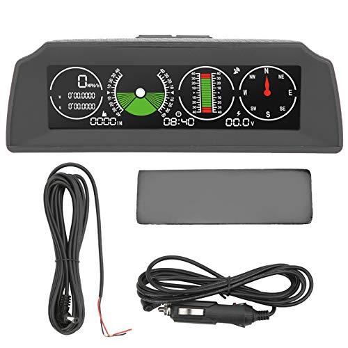 Yctze Medidor de pendiente, inclinómetro GPS para coche ABS, indicador de inclinación, indicador de inclinación para coche, clinómetro multifunción para coche (negro)