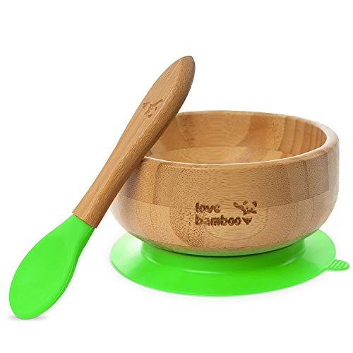 PANDAS LOVE BAMBOO – Baby Saugnapfschüssel aus Bambus mit Löffel – Grün, Rot