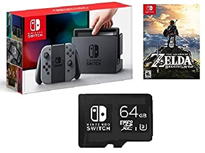 Nintendo Switch 3 items Game Bundle:Nintendo Switch 32GB Console Gray Joy-con,64GB Micro SD Memory Card and The Legend of Zelda: Breath of the Wild Game Disk by Nintendo Switch