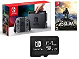 Nintendo Switch 3 items Game Bundle:Nintendo Switch 32GB Console Gray Joy-con,64GB Micro SD Memory Card and The Legend of Zelda: Breath of the Wild Game Disk