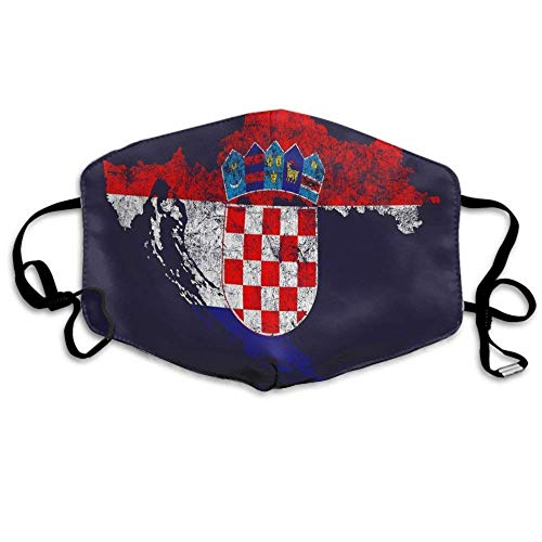 Mundschutz Mouth Face Cover für Männer und Frauen, Anti-Dust Mouth Cover Kroatien Flagge und Karte Croatian Pride for Running Cycling