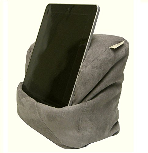 LESEfit Soft antirutsch Lesekissen Tablet Kissen Sitzsack für Buch & e-Reader kompatibel mit iPad, Buchstütze für Bett & Sofa (multifunktionale Quader-Form) Wildleder-Imitat grau